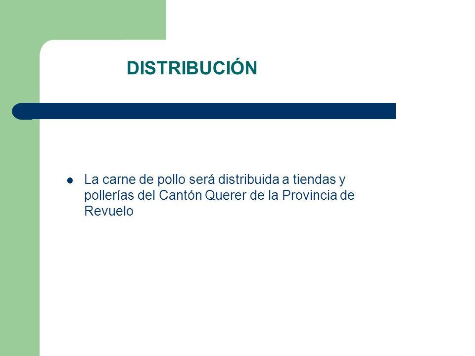 DISTRIBUCIÓNLa carne de pollo será distribuida a tiendas y pollerías del Cantón Querer de la Provincia de Revuelo.