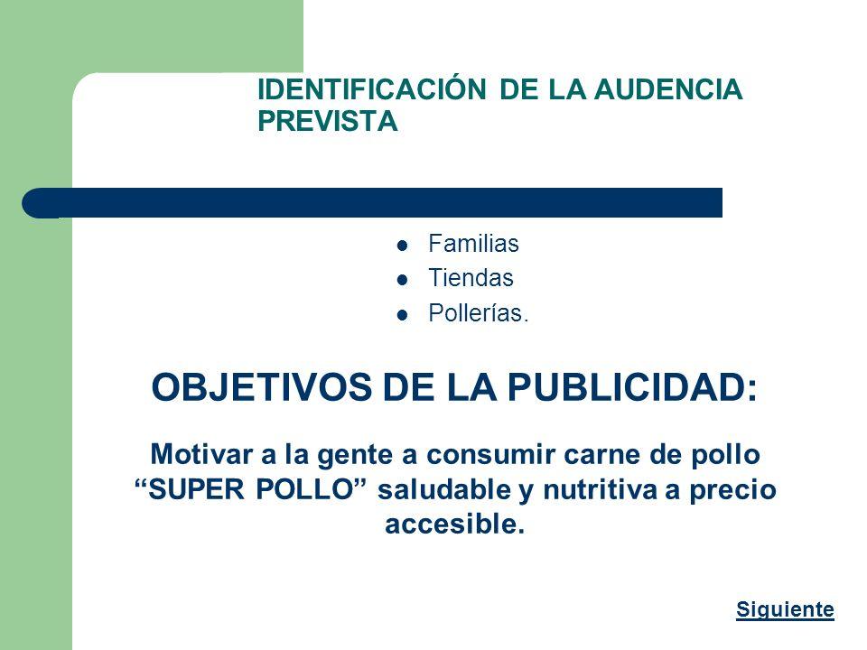 IDENTIFICACIÓN DE LA AUDENCIA PREVISTA