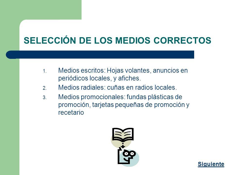 SELECCIÓN DE LOS MEDIOS CORRECTOS