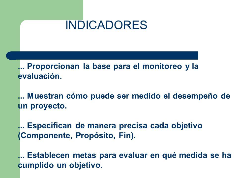 INDICADORES ... Proporcionan la base para el monitoreo y la evaluación. ... Muestran cómo puede ser medido el desempeño de un proyecto.