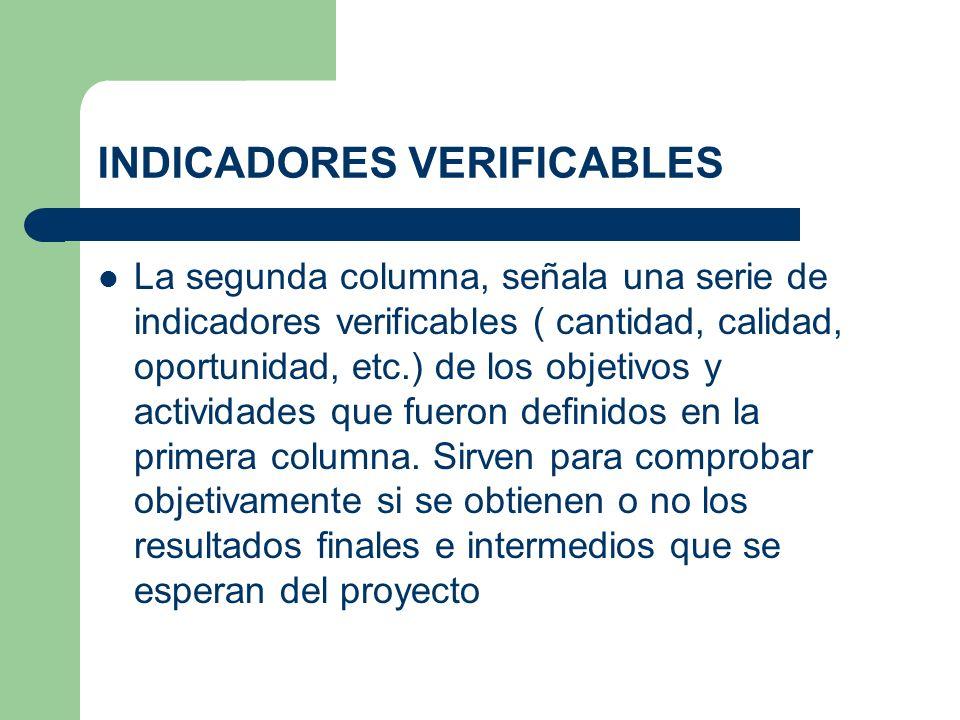 INDICADORES VERIFICABLES
