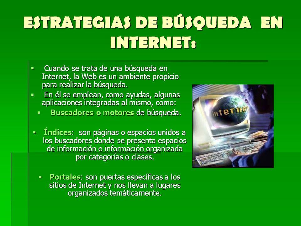ESTRATEGIAS DE BÚSQUEDA EN INTERNET: