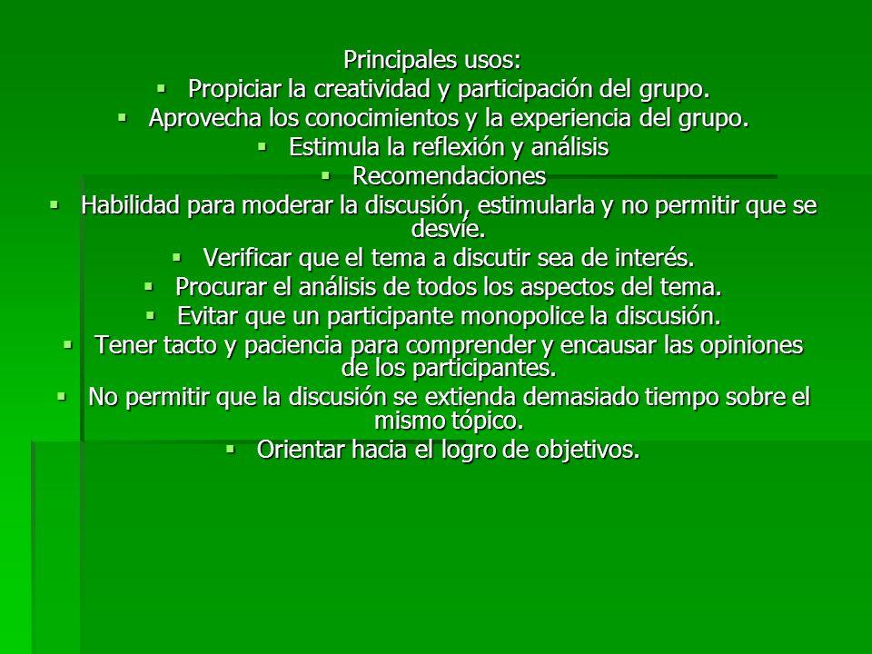 Propiciar la creatividad y participación del grupo.
