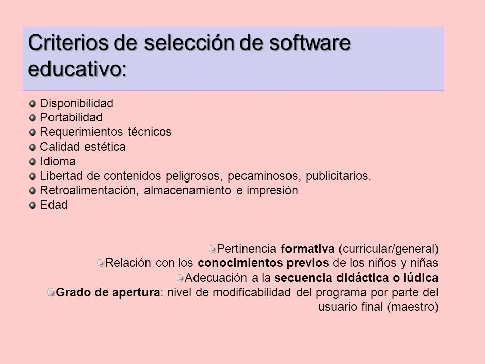Criterios de selección de software educativo: