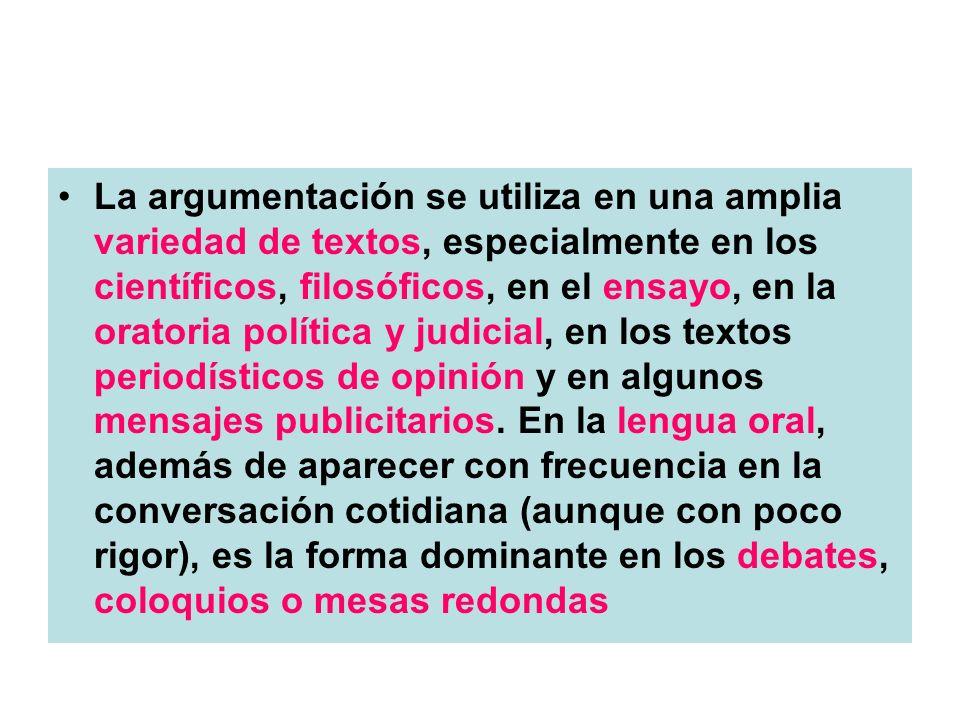 La argumentación se utiliza en una amplia variedad de textos, especialmente en los científicos, filosóficos, en el ensayo, en la oratoria política y judicial, en los textos periodísticos de opinión y en algunos mensajes publicitarios.