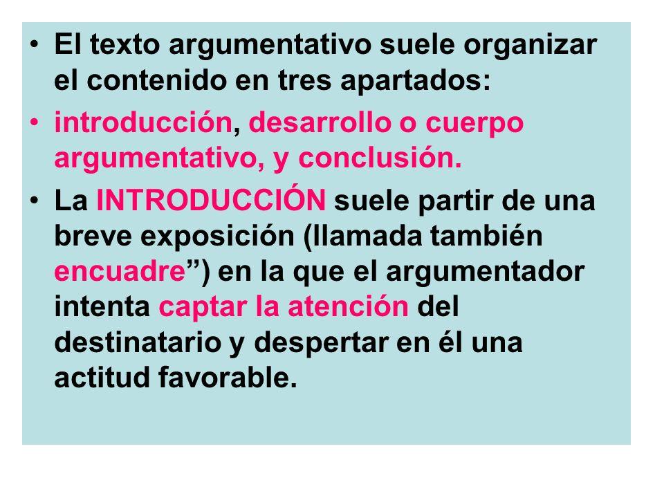 El texto argumentativo suele organizar el contenido en tres apartados: