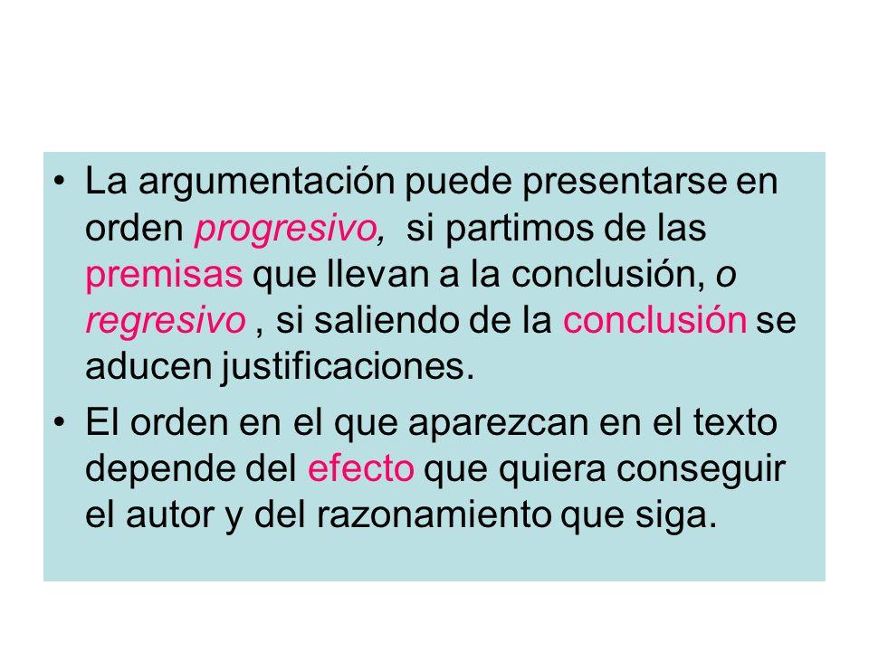 La argumentación puede presentarse en orden progresivo, si partimos de las premisas que llevan a la conclusión, o regresivo , si saliendo de la conclusión se aducen justificaciones.