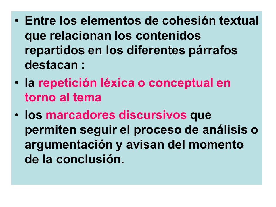 Entre los elementos de cohesión textual que relacionan los contenidos repartidos en los diferentes párrafos destacan :