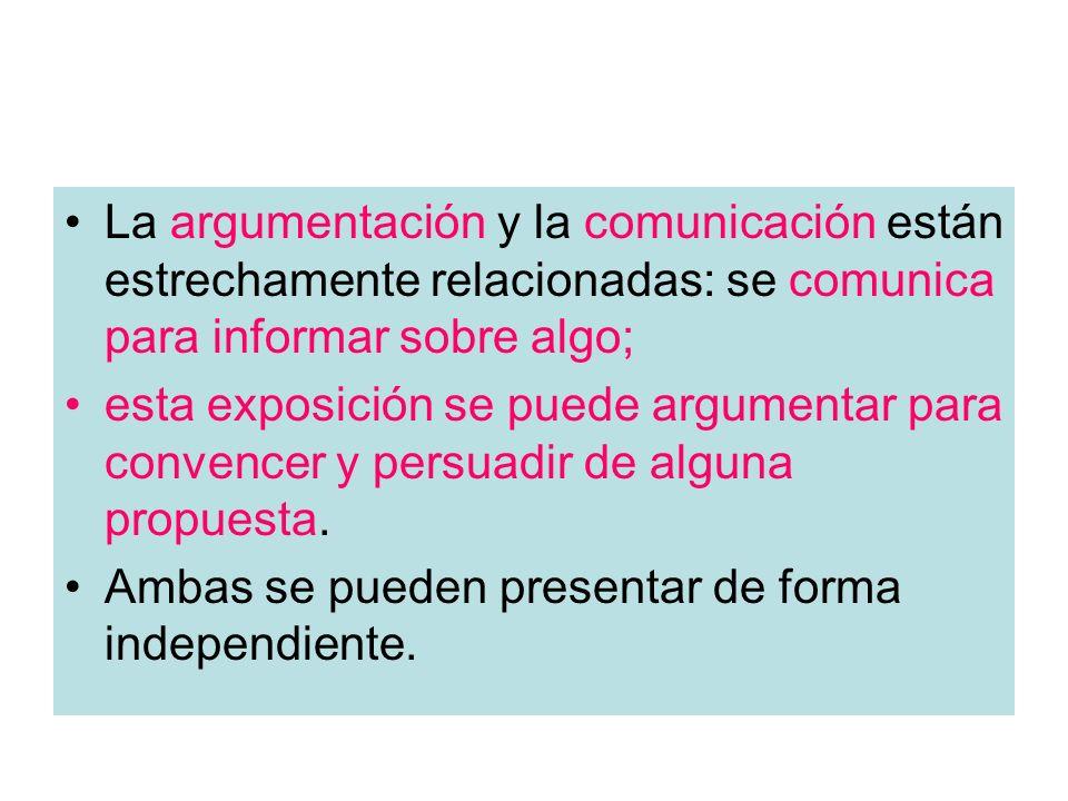 La argumentación y la comunicación están estrechamente relacionadas: se comunica para informar sobre algo;