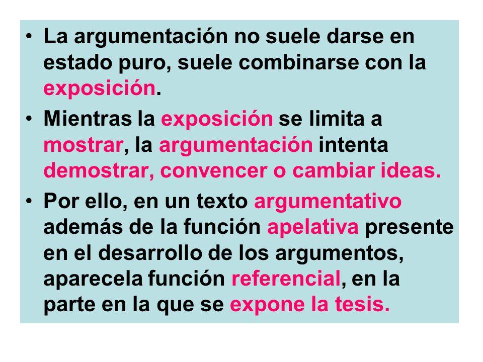 La argumentación no suele darse en estado puro, suele combinarse con la exposición.