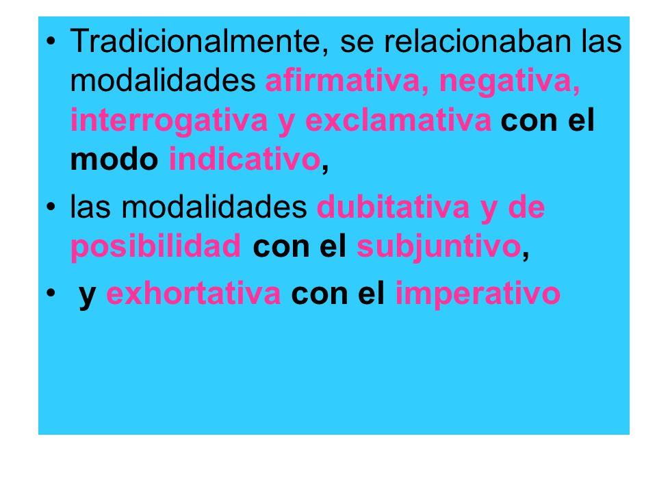 Tradicionalmente, se relacionaban las modalidades afirmativa, negativa, interrogativa y exclamativa con el modo indicativo,