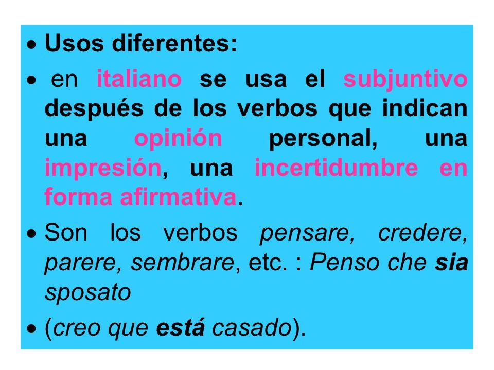 Usos diferentes: