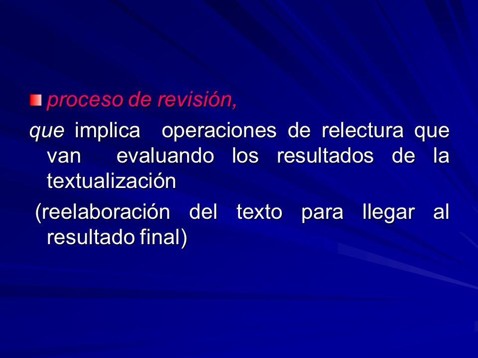 proceso de revisión, que implica operaciones de relectura que van evaluando los resultados de la textualización.