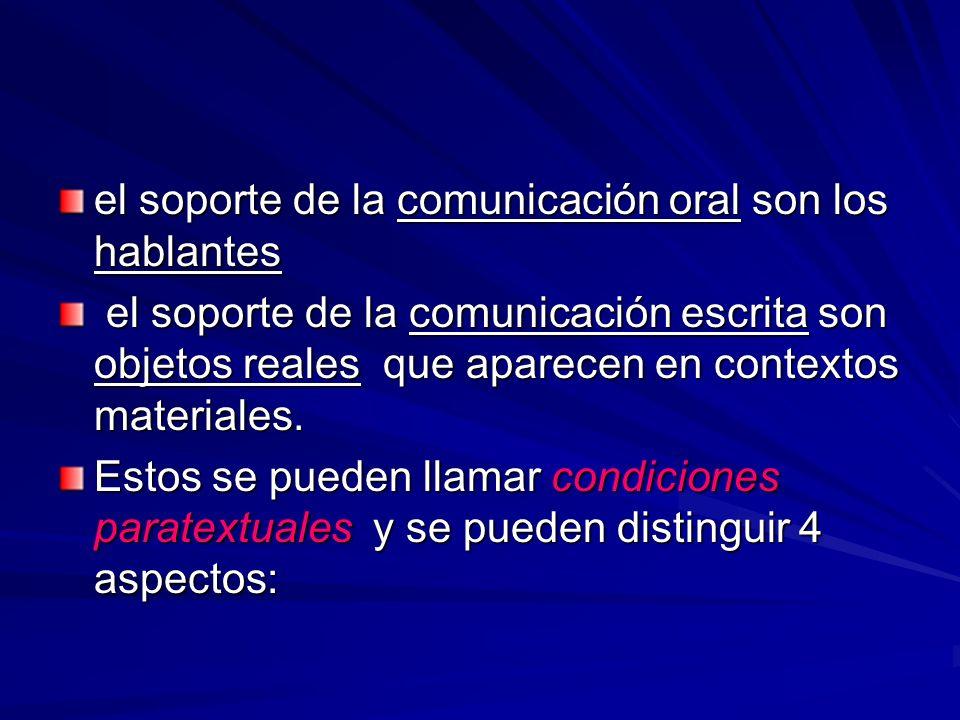 el soporte de la comunicación oral son los hablantes