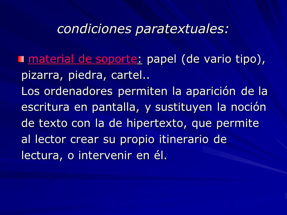 condiciones paratextuales: