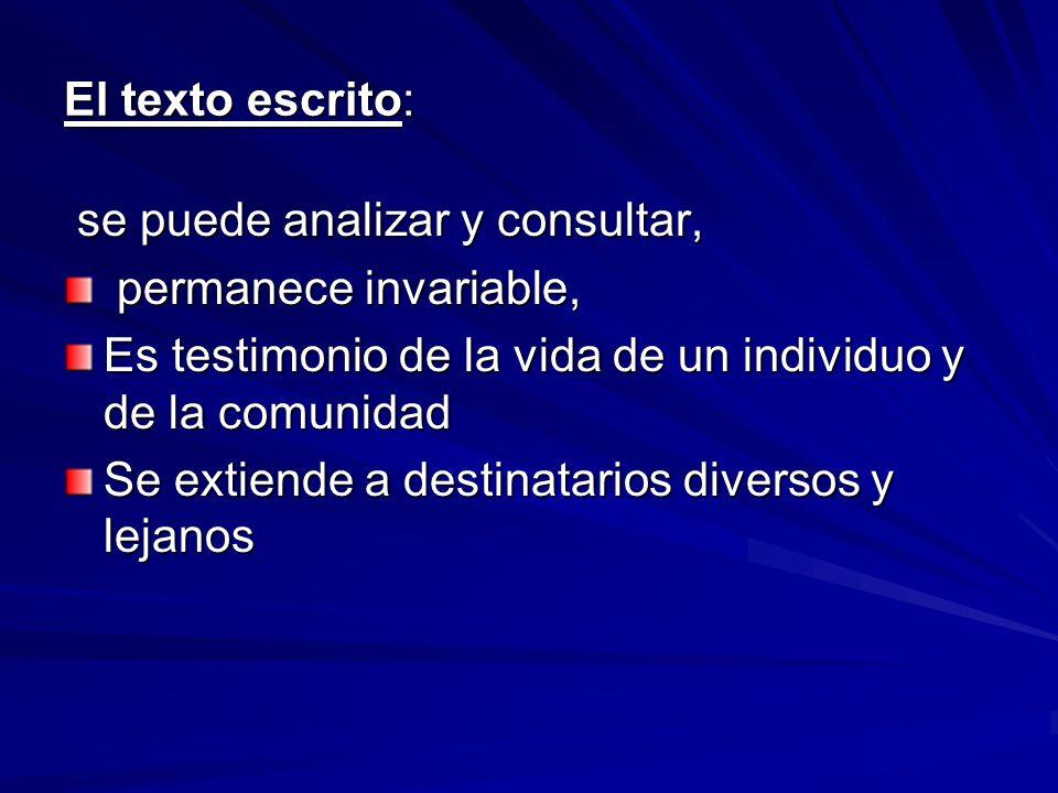 El texto escrito: se puede analizar y consultar, permanece invariable, Es testimonio de la vida de un individuo y de la comunidad.