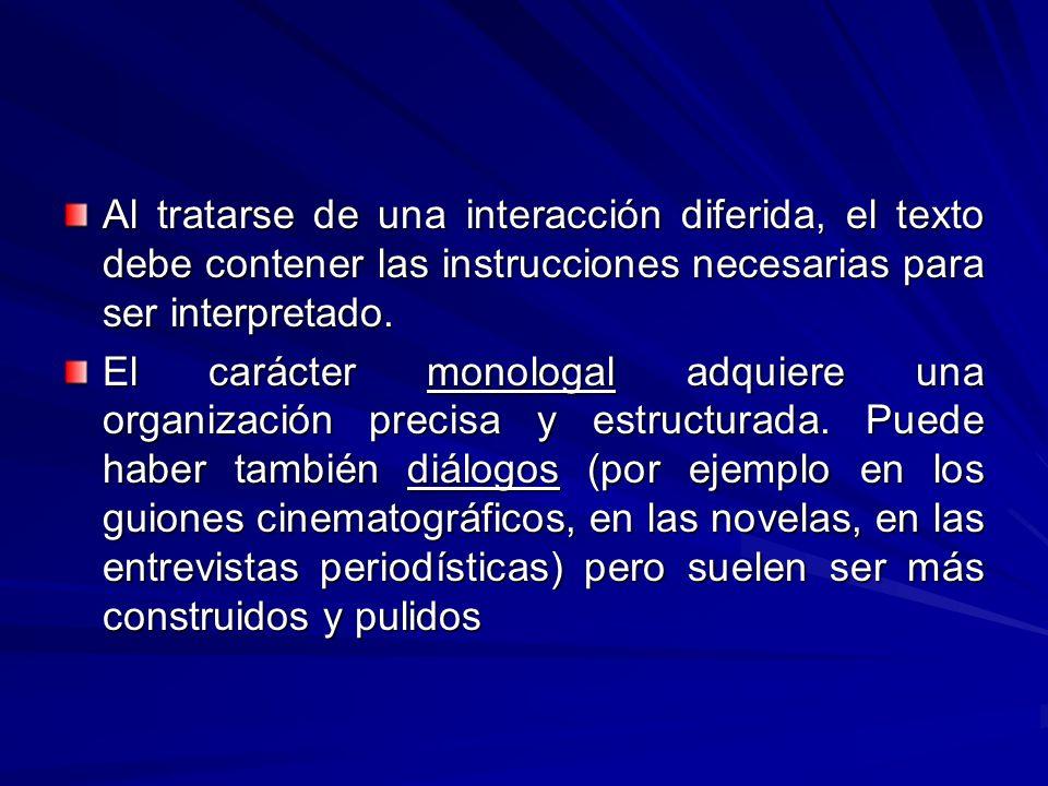 Al tratarse de una interacción diferida, el texto debe contener las instrucciones necesarias para ser interpretado.