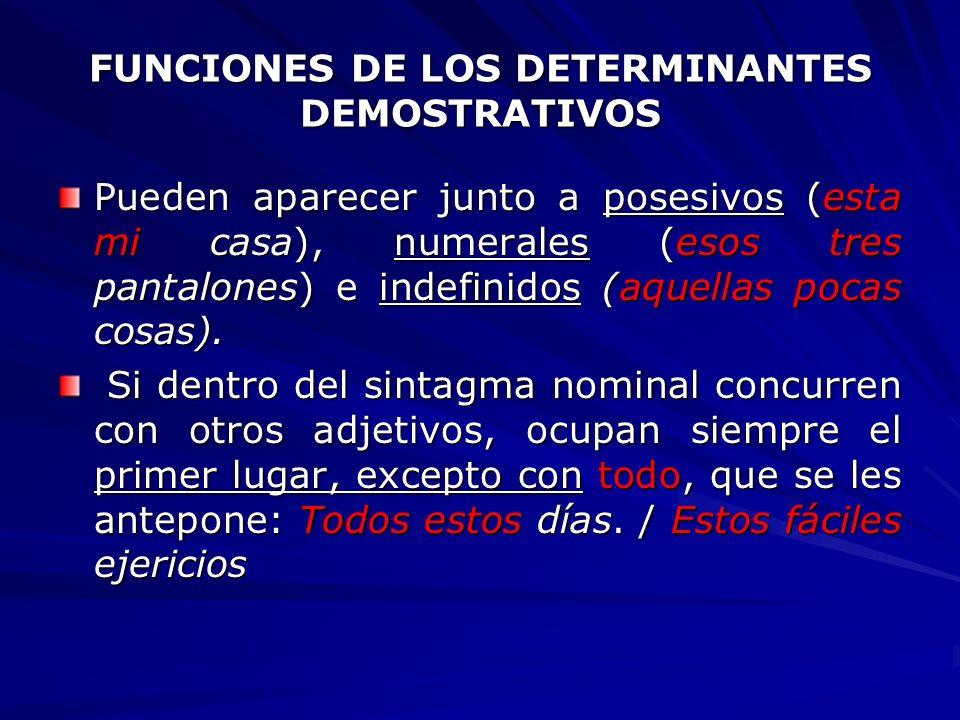 FUNCIONES DE LOS DETERMINANTES DEMOSTRATIVOS