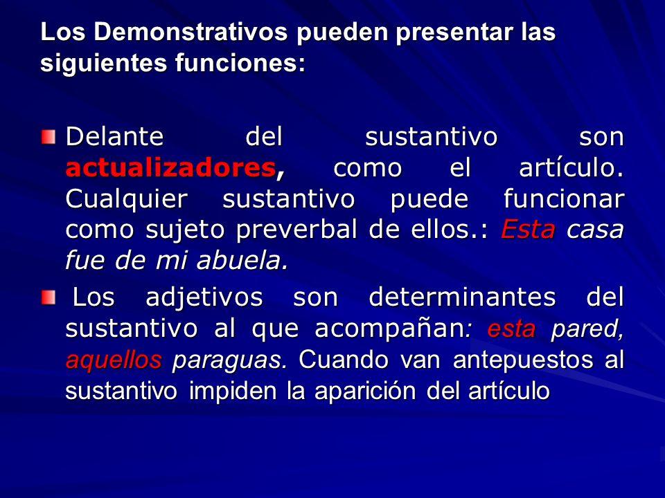 Los Demonstrativos pueden presentar las siguientes funciones: