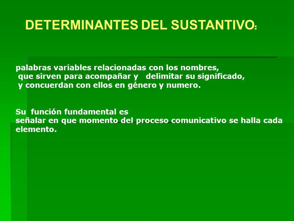DETERMINANTES DEL SUSTANTIVO: