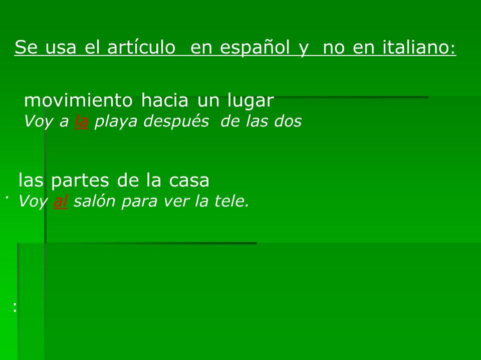 Se usa el artículo en español y no en italiano: