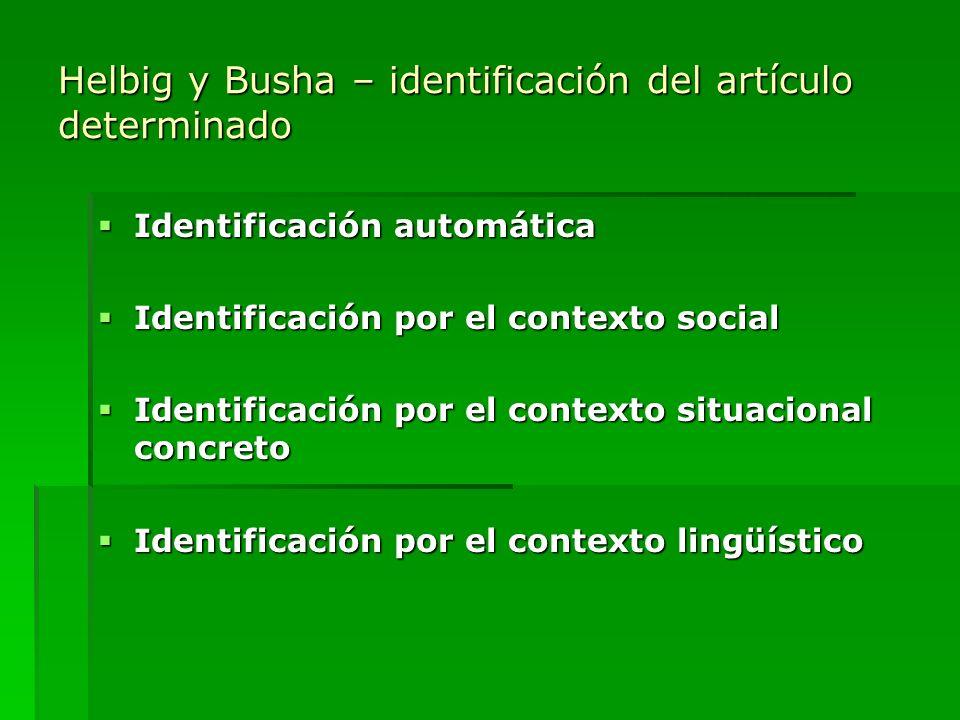 Helbig y Busha – identificación del artículo determinado
