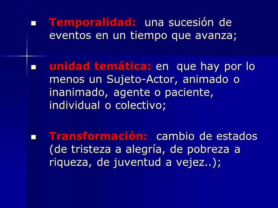 Temporalidad: una sucesión de eventos en un tiempo que avanza;
