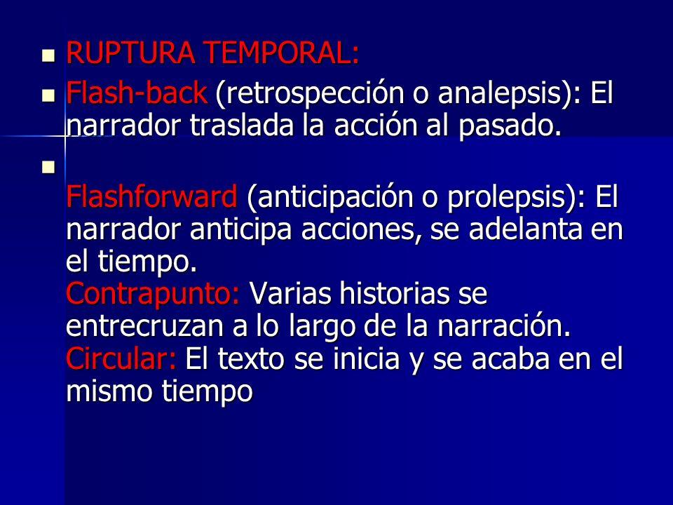 RUPTURA TEMPORAL: Flash-back (retrospección o analepsis): El narrador traslada la acción al pasado.