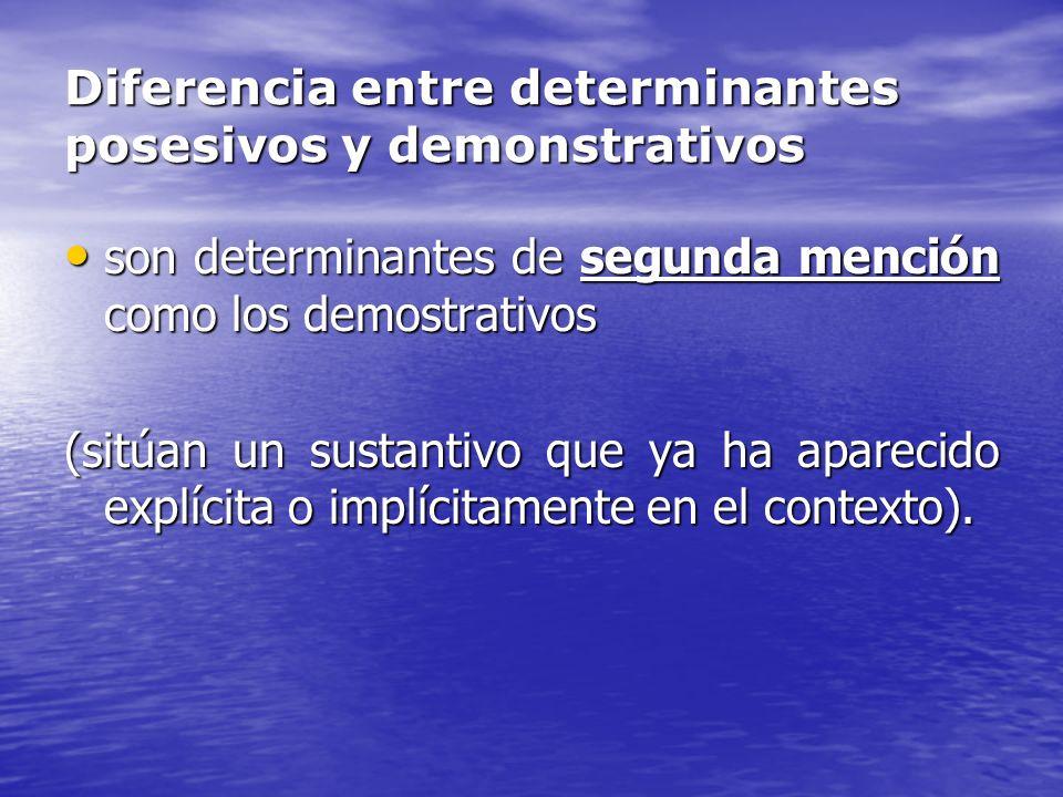 Diferencia entre determinantes posesivos y demonstrativos