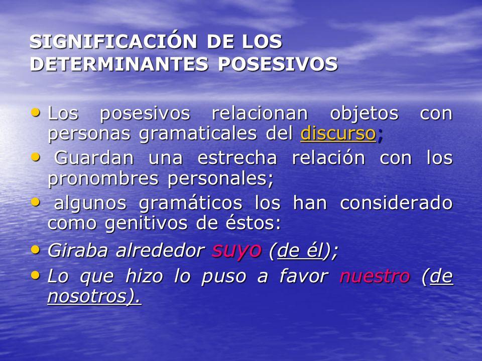 SIGNIFICACIÓN DE LOS DETERMINANTES POSESIVOS