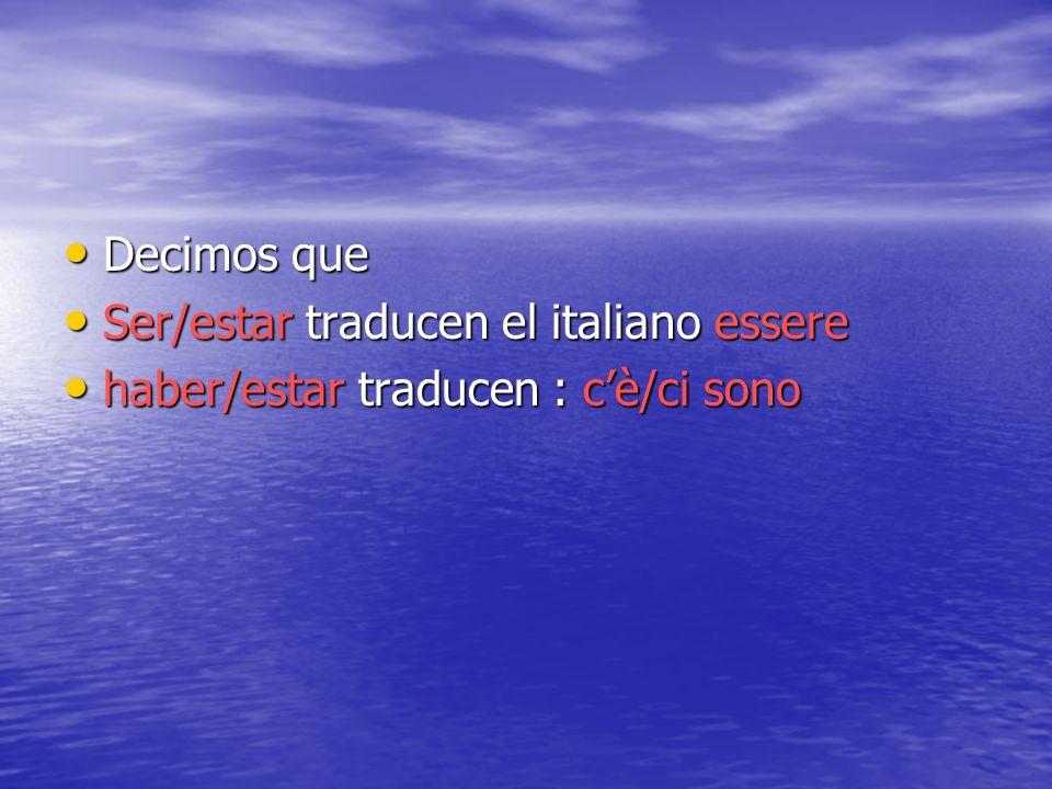 Decimos que Ser/estar traducen el italiano essere haber/estar traducen : c'è/ci sono