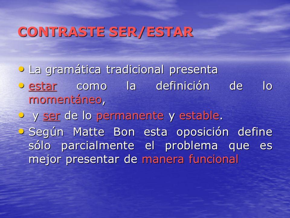 CONTRASTE SER/ESTAR La gramática tradicional presenta