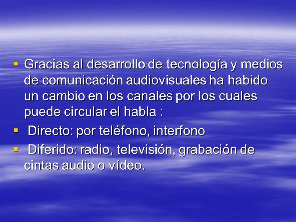 Gracias al desarrollo de tecnología y medios de comunicación audiovisuales ha habido un cambio en los canales por los cuales puede circular el habla :