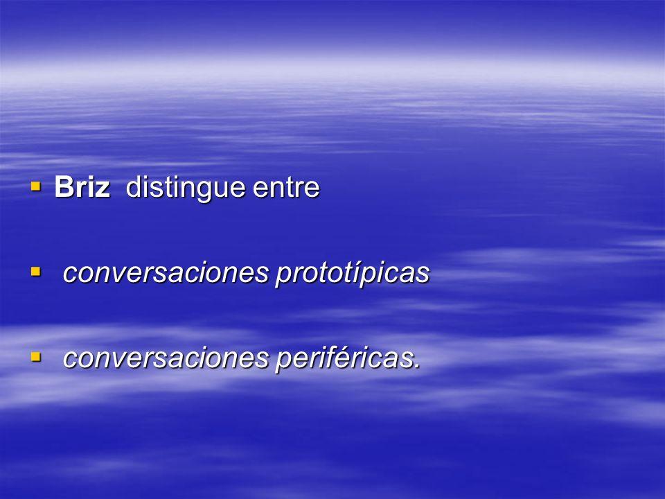 Briz distingue entre conversaciones prototípicas conversaciones periféricas.