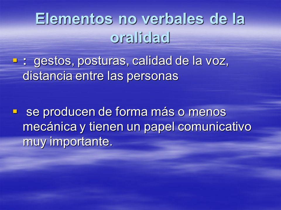 Elementos no verbales de la oralidad