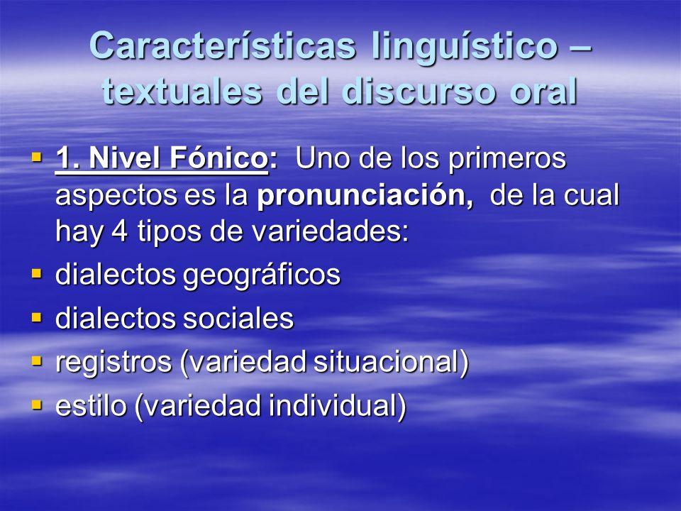 Características linguístico – textuales del discurso oral