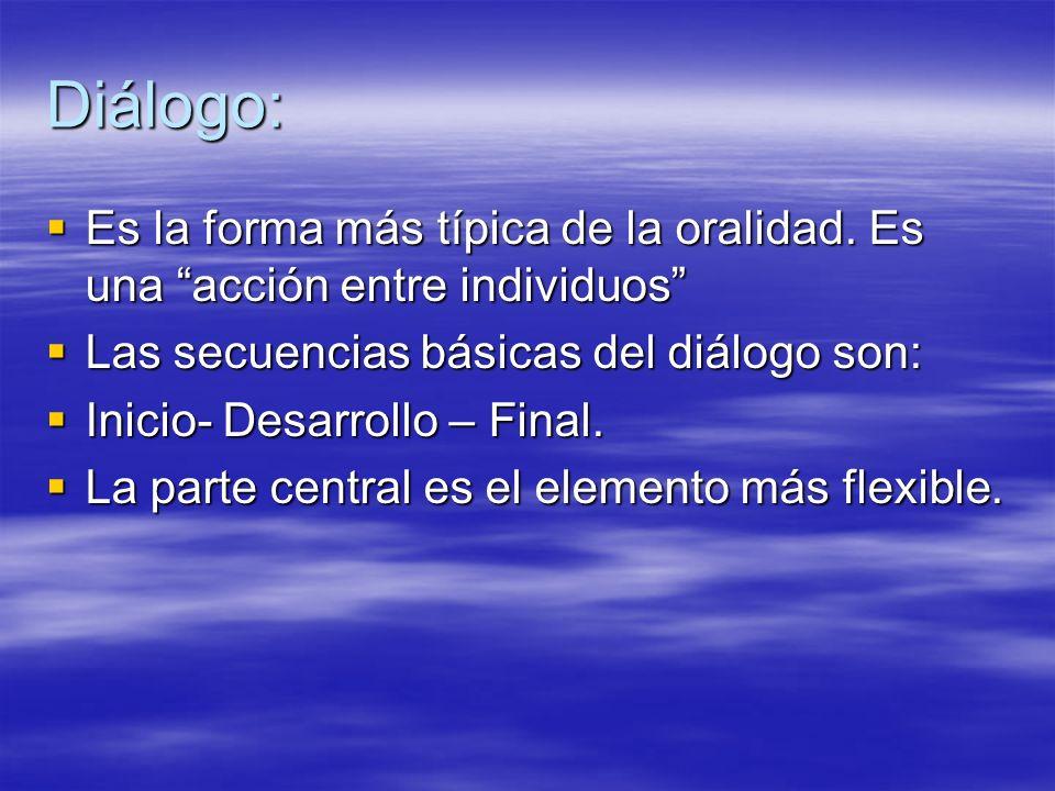 Diálogo: Es la forma más típica de la oralidad. Es una acción entre individuos Las secuencias básicas del diálogo son: