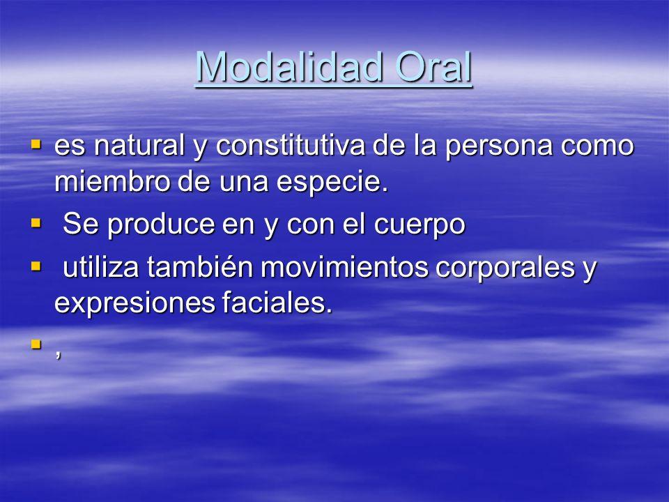 Modalidad Oral es natural y constitutiva de la persona como miembro de una especie. Se produce en y con el cuerpo.