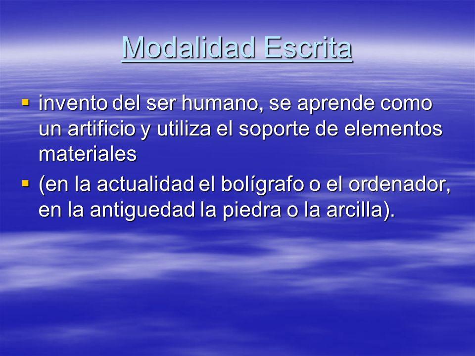 Modalidad Escrita invento del ser humano, se aprende como un artificio y utiliza el soporte de elementos materiales.