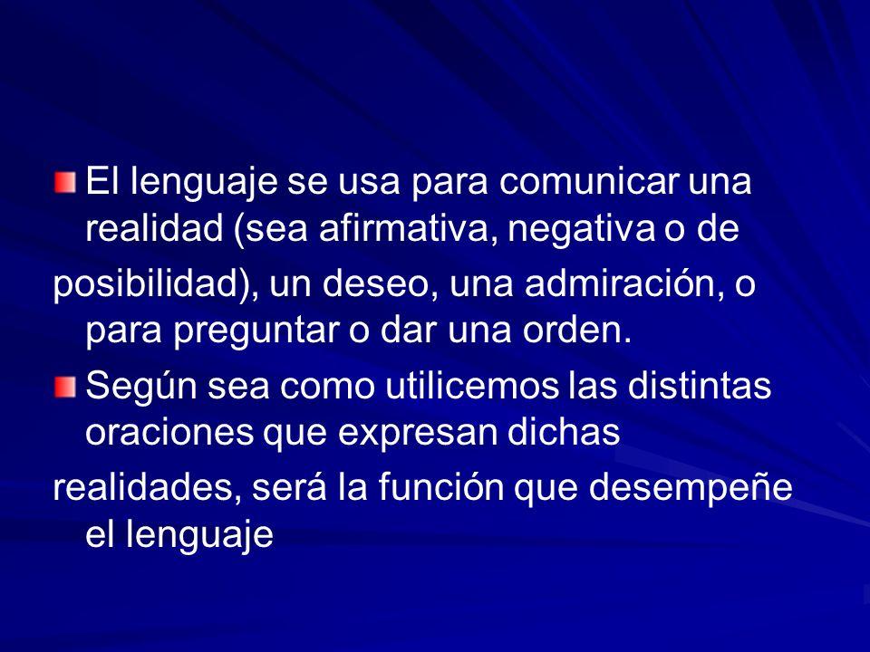 El lenguaje se usa para comunicar una realidad (sea afirmativa, negativa o de