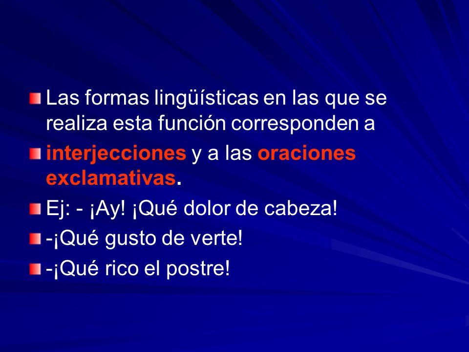 Las formas lingüísticas en las que se realiza esta función corresponden a