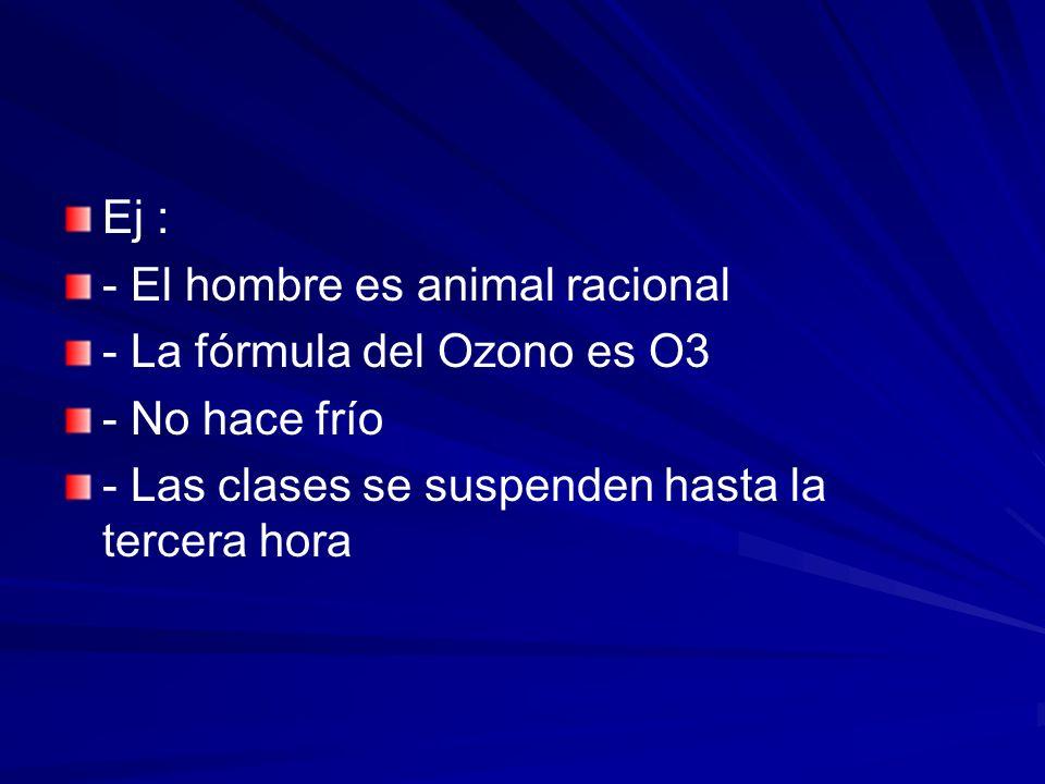 Ej :- El hombre es animal racional.- La fórmula del Ozono es O3.