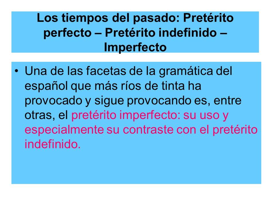 Los tiempos del pasado: Pretérito perfecto – Pretérito indefinido – Imperfecto