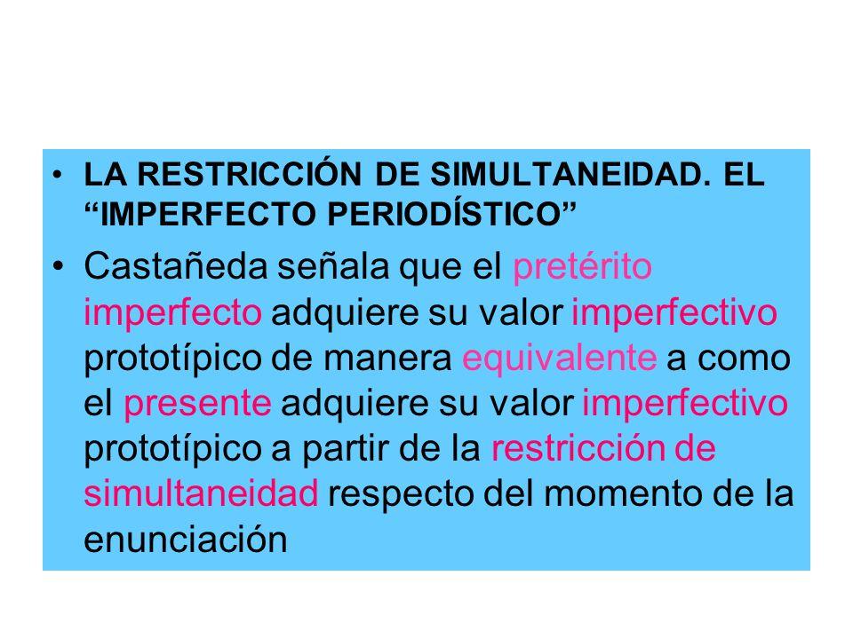LA RESTRICCIÓN DE SIMULTANEIDAD. EL IMPERFECTO PERIODÍSTICO