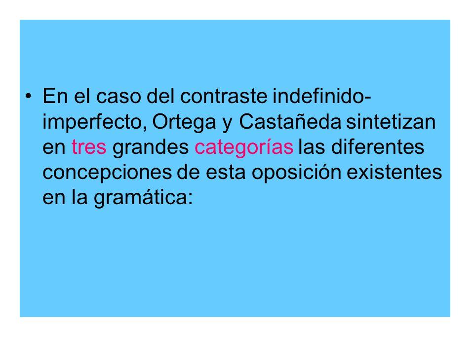 En el caso del contraste indefinido-imperfecto, Ortega y Castañeda sintetizan en tres grandes categorías las diferentes concepciones de esta oposición existentes en la gramática: