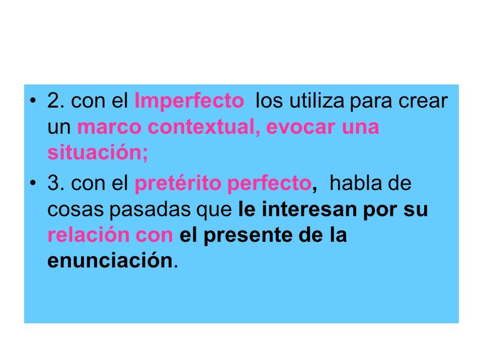 2. con el Imperfecto los utiliza para crear un marco contextual, evocar una situación;