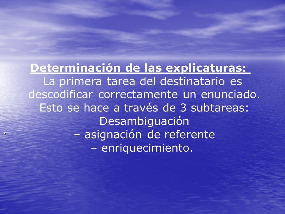 Determinación de las explicaturas: