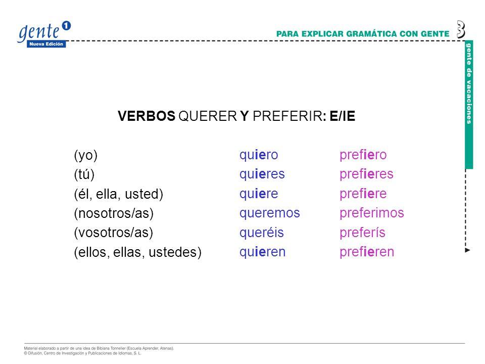 VERBOS QUERER Y PREFERIR: E/IE