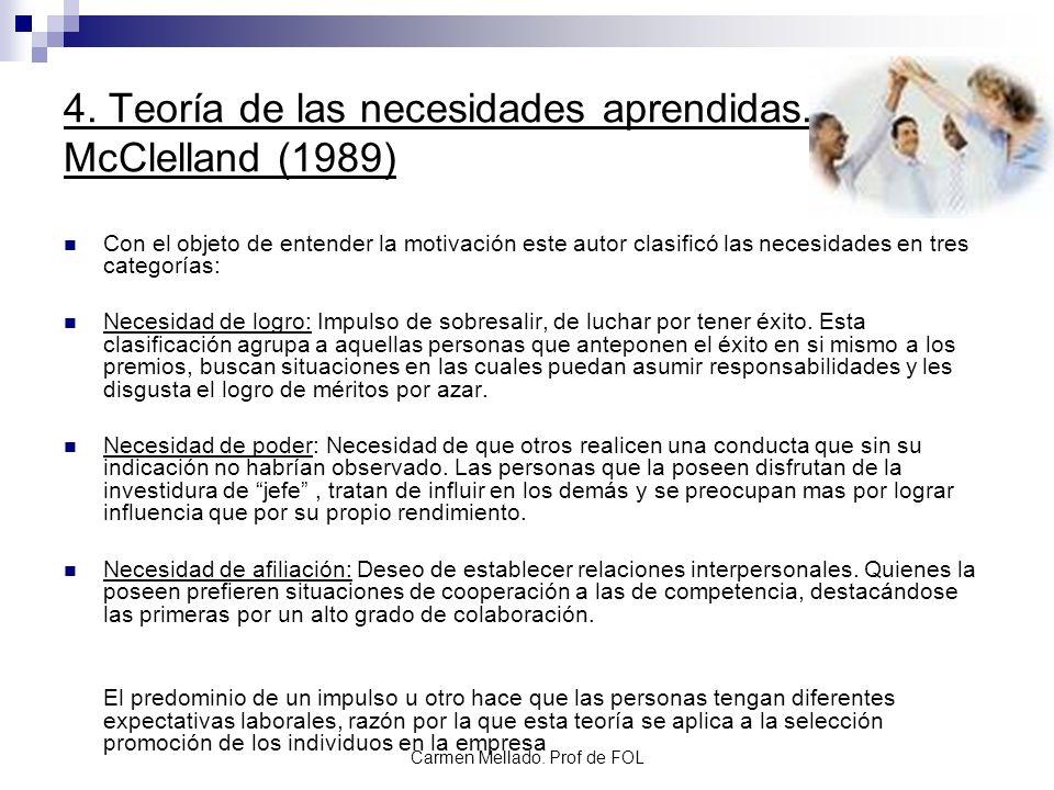 4. Teoría de las necesidades aprendidas. McClelland (1989)