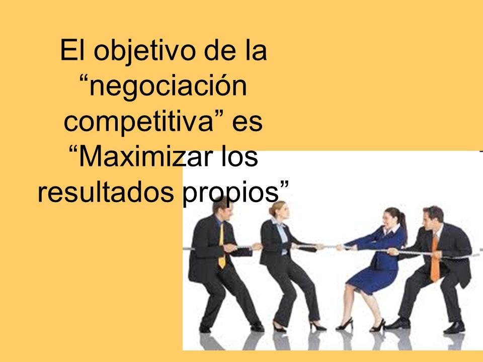 El objetivo de la negociación competitiva es Maximizar los resultados propios